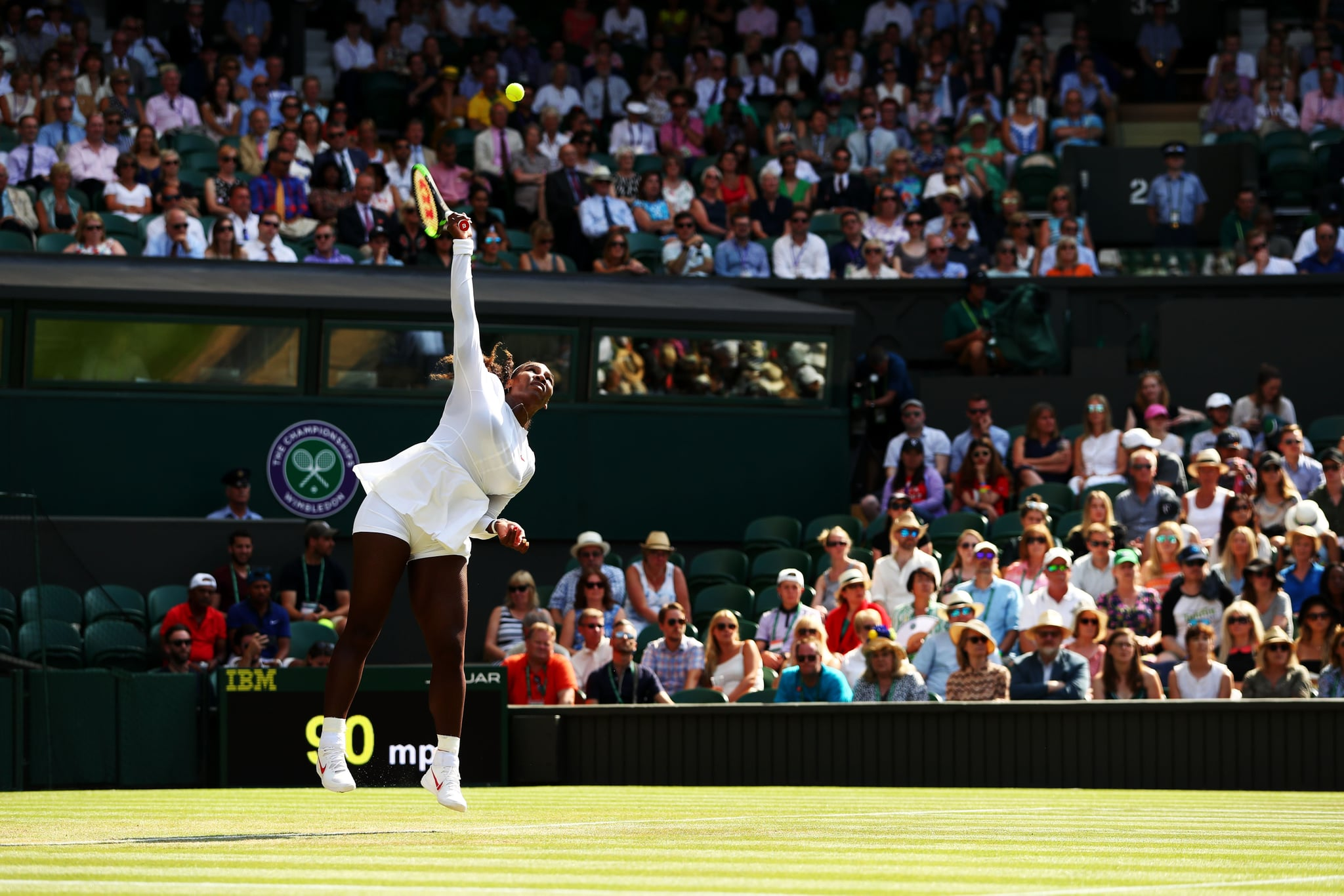 LONDON, ENGLAND - JULY 06:  Serena Williams of the United States serves against Kristina Mladenovic of France during their Ladies' Singles third round match on day five of the Wimbledon Lawn Tennis Championships at All England Lawn Tennis and Croquet Club on July 6, 2018 in London, England.  (Photo by Matthew Stockman/Getty Images)