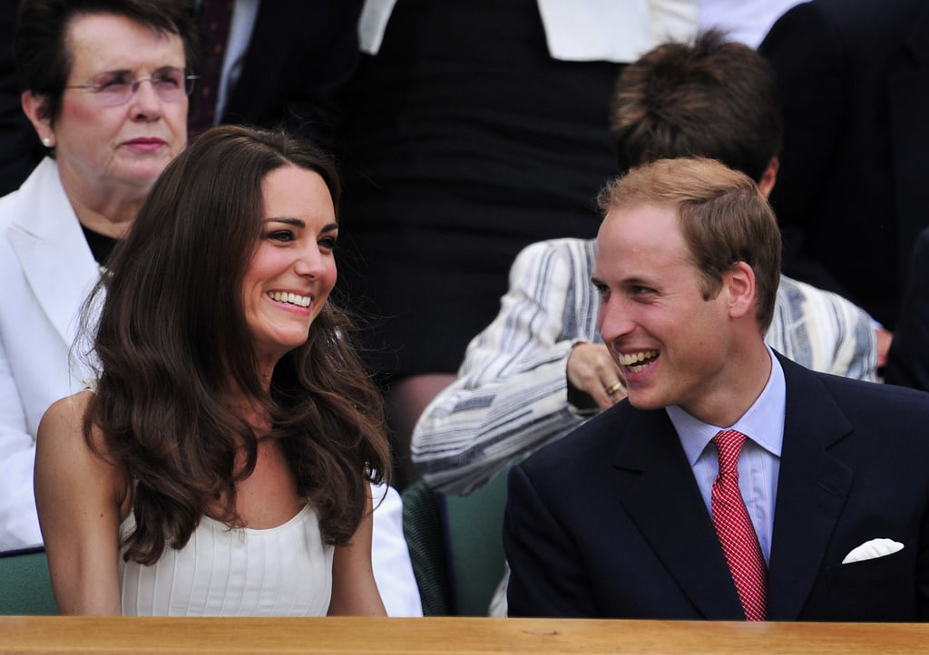 Kate Middleton embraced the warm weather and picked a hot Temperley London sundress to sit courtside with Prince William at Wimbledon today. The Duke and Duchess of Cambridge were incredibly smiley and looked like they were having a blast as they watched Britain's own Andy Murray take on French player Richard Gasquet. The royal newlyweds had a big weekend as well, and Kate Middleton wore a stunning Alexander McQueen military coat to help honor members of the Irish Guard who served in Afghanistan. Prince William and Kate's North America trip starts in just a few days, and they released official royal portraits ahead of their trip. After their weeklong visit to Canada, they will be off to the West Coast of the United States for charity work, a philanthropic polo match, and a star-studded BAFTA event in LA.