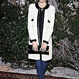 Jaime King looked perfectly poised in a black-trimmed ivory tweed coat.