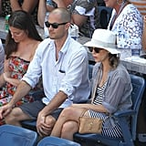 Keri Russell and Shane Deary watching the US Open.