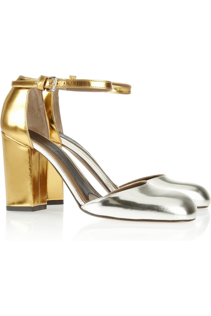 Marni Metallic Mirrored Gold and Silver Ankle-Strap Sandals ($171, originally $685)