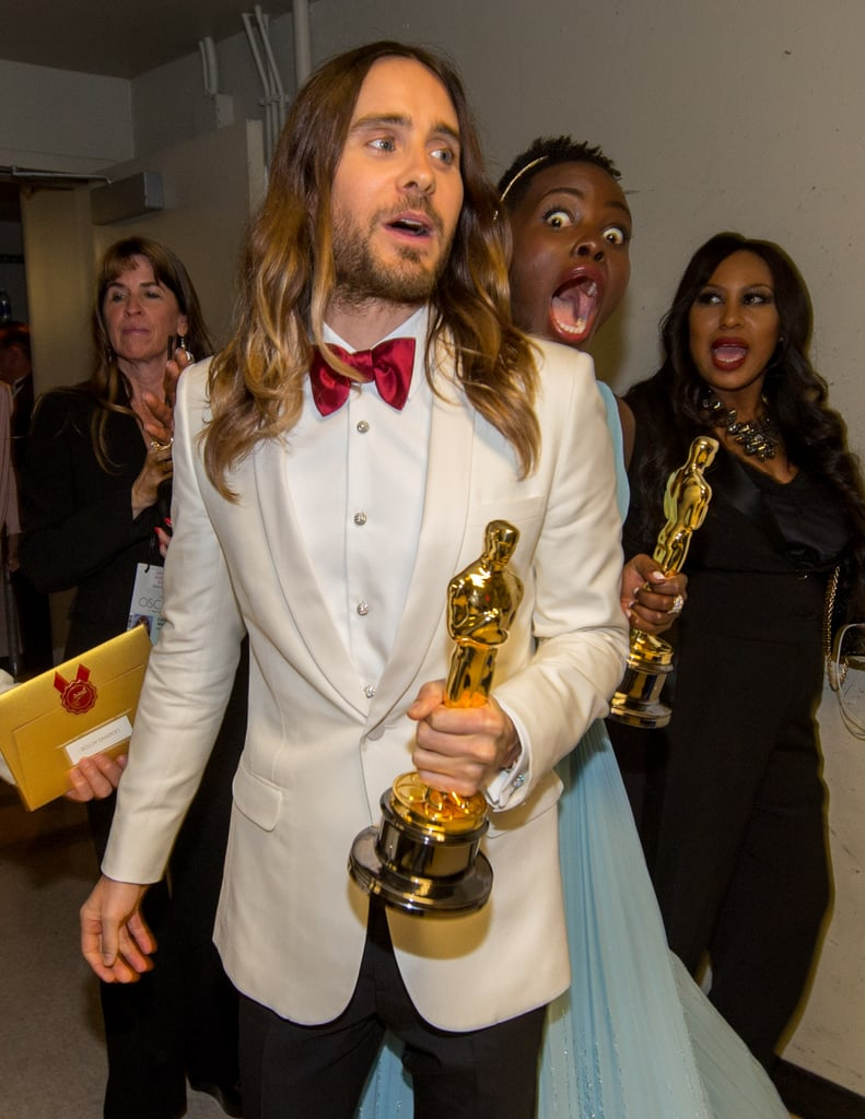 Jared Leto photobombed people throughout award season, but Lupita Nyong'o topped them all when she snuck up behind him for this snap.