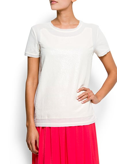 Jazz up a pair of jeans or pencil skirt with this fun sequined tee.