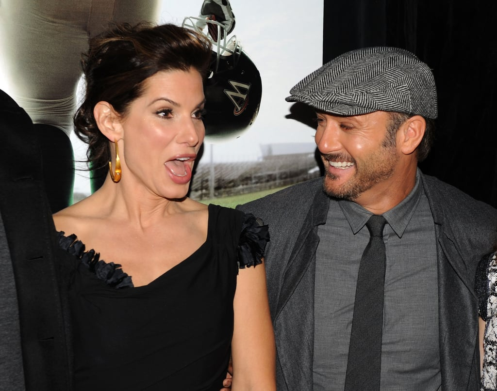 Sandra Bullock and Tim McGraw posed for photos at their November 2009 NYC premiere of The Blind Side.