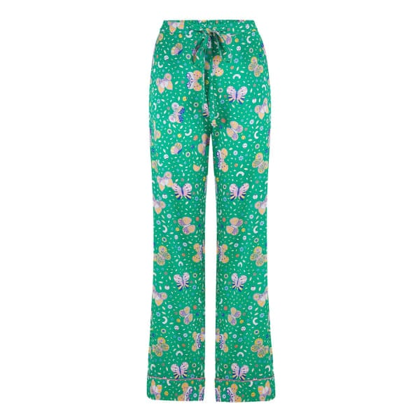 Sleepy Wilson Poppy Silk Pyjama Trousers in Rainforest