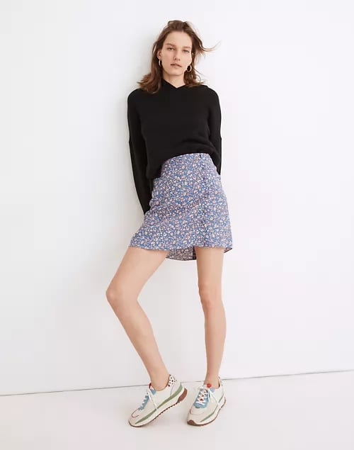 Madewell Porch Side-Button Mini Skirt in Summer Vines