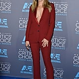 At the 2015 Critics' Choice Movie Awards, Jennifer opted for a rust-colored Gucci tuxedo with a plunging neckline.