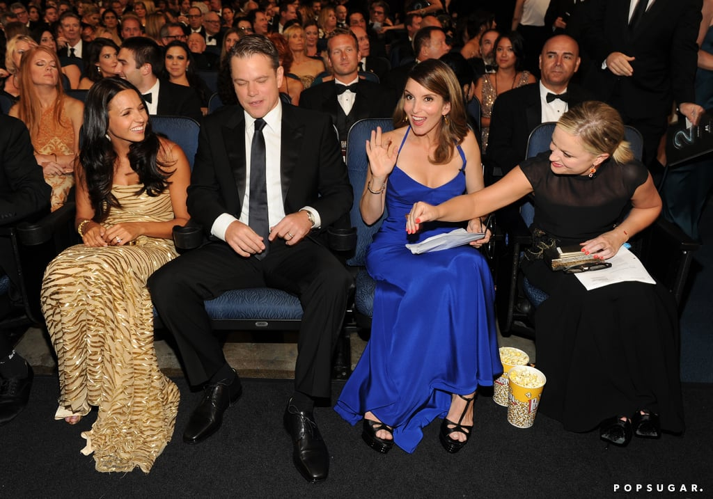 Tina Fey and Amy Poehler chatted with Matt Damon and Luciana Damon.