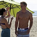 Sean kept his shirt off while chatting with Amanda during the group beach date . . . how did she stay focused?