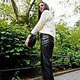 Style Your Sweater With: Leather Pants, Mules, and a Bag