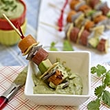 Grilled Hot Dog Skewers With Creamy Avocado Dip