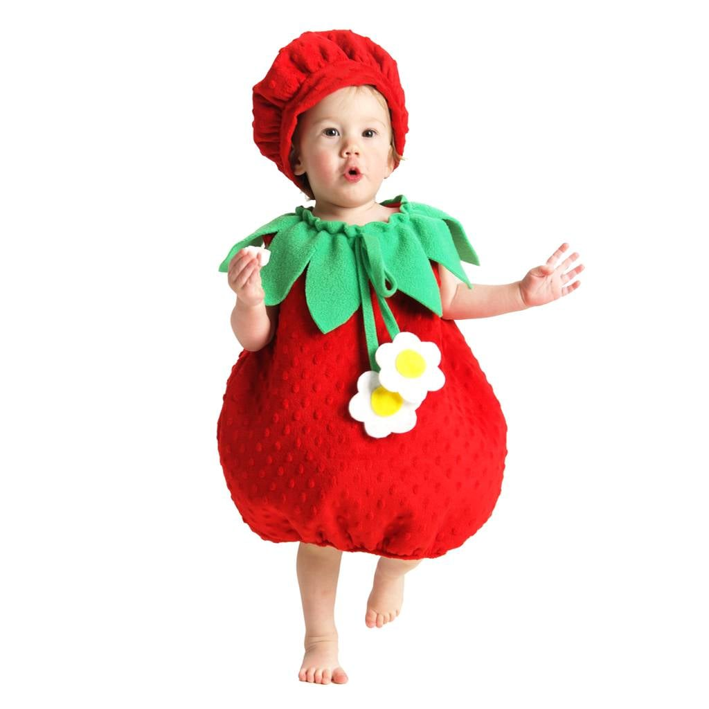 infant strawberry costume | warm halloween costumes for babies