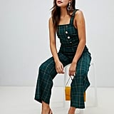 Miss Selfridge Jumpsuit With Button Detail in Green Check