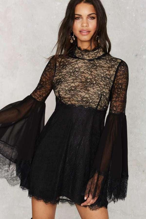 Nasty Gal Hi-Neck Software Lace Dress ($98)