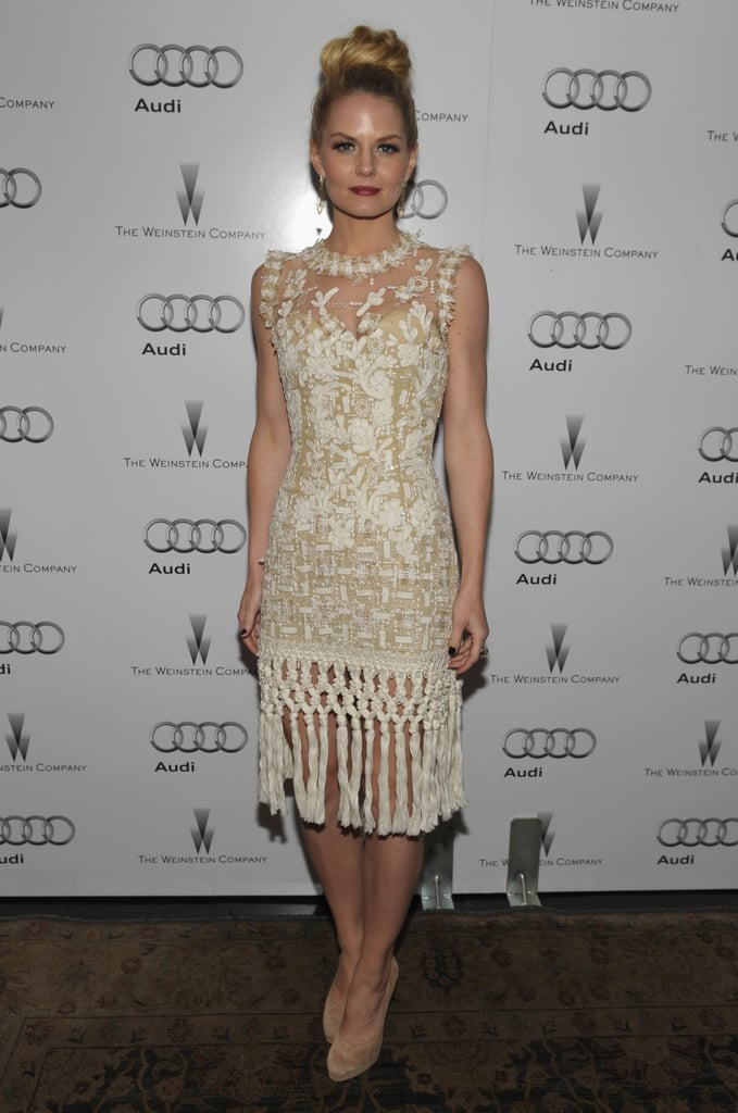 Jennifer Morrison welcomed award season in a white Oscar de la Renta dress at the Chateau Marmont.
