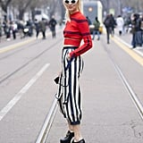 Pull your look together by contrasting horizontal stripes with vertical ones, just like Chiara Ferragni did.