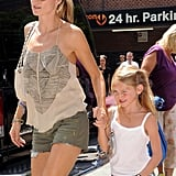 Heidi Klum held on tight to Leni's hand.