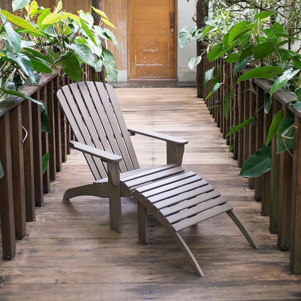 Cambridge Casual Lyon Wood Outdoor Adirondack Chair with Ottoman