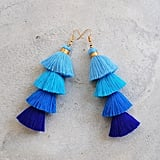 Four-Layered Blue Ombre Tassel Earrings