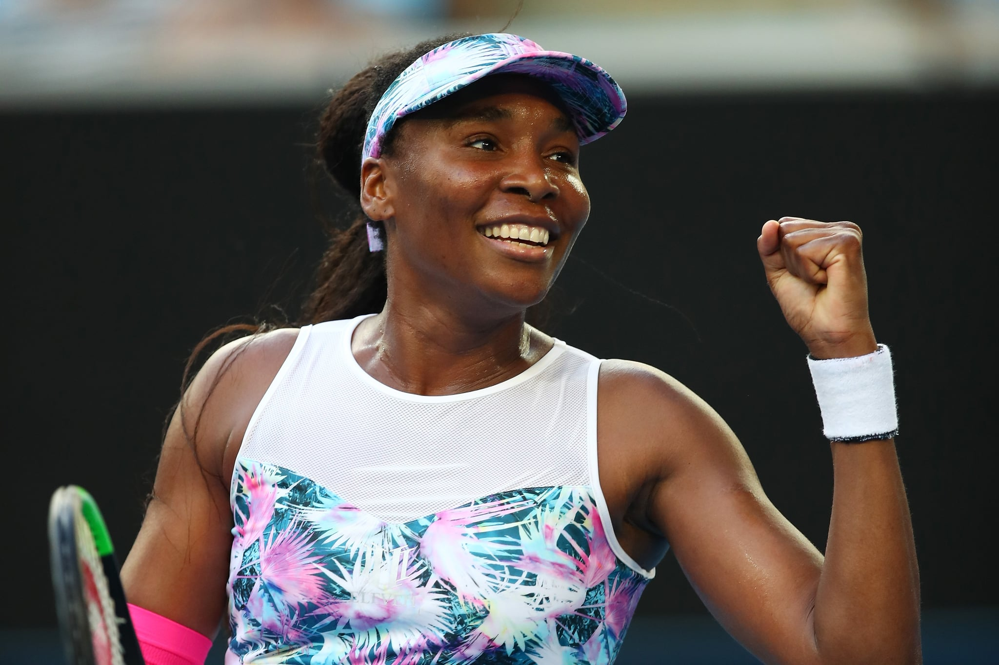 MELBOURNE, AUSTRALIA - JANUARY 15:  Venus Williams of the United States celebrates after winning match point in her first round match against Mihaela Buzarnescu of Romania during day two of the 2019 Australian Open at Melbourne Park on January 15, 2019 in Melbourne, Australia.  (Photo by Cameron Spencer/Getty Images)