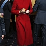 Kate accessorized her L.K. Bennett coat with chocolate brown accents.