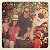 Tiffani Thiessen joined her family on a trip to Disneyland this week — and stopped to visit with Tigger and the gang. Source: Instagram user tathiessen