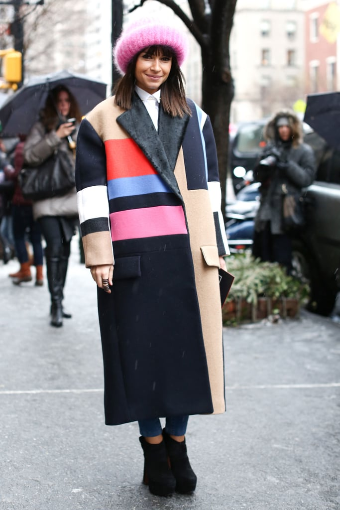 Miroslava Duma said it all with a colorblocked coat.