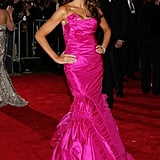 Melania's hot pink Vera Wang gown was complete with ruffles and a bow and was definitely a sight to be seen at the 2008 Met Gala.
