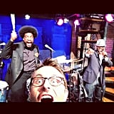 Nerdist host Chris Hardwick posed with The Roots during his visit to Late Night With Jimmy Fallon. Source: Instagram user nerdist