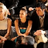 Amber, Jessica, and Cash watched the designs come down the catwalk.