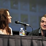 Robert Pattinson and Kristen Stewart spoke together at a Breaking Dawn Part 1 panel in San Diego during Comic-Con in July 2011.