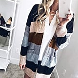 Ecowish Colorblock Striped Cardigan