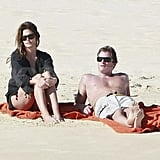 Cindy Crawford and Rande Gerber spent the day together at the beach.