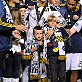 David Beckham held onto Cruz, Romeo, and Brooklyn.