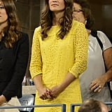 On Wednesday Sept. 5, Pippa wore a Paper London Sadie Lace Cotton Shift in Buttercup at the US Open.