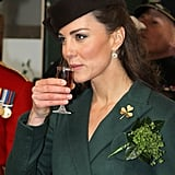 Kate sipped some Harveys Bristol Creme on St. Patrick's Day.