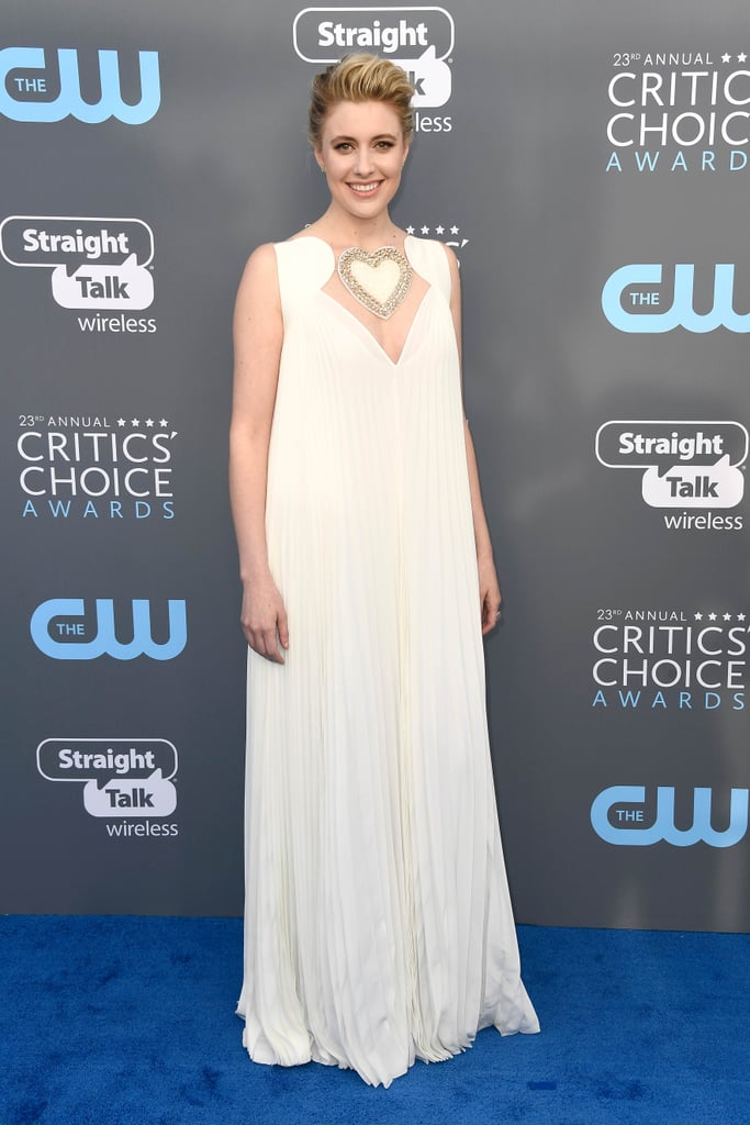 Greta Gerwig's White Dress at Critics' Choice Award 2018
