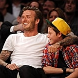 David and Brooklyn Beckham got cute at a basketball game in LA in March.