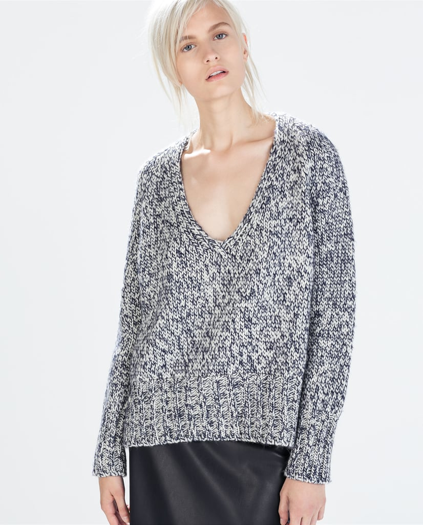 Zara V-Neck Twist Knit Sweater