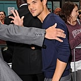 Taylor Lautner made a radio appearance in London.