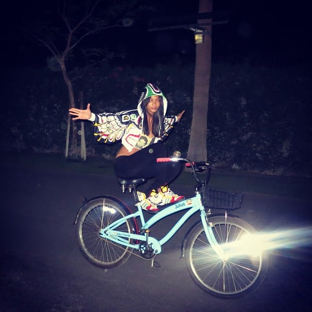 Chanel Iman took herself for a nighttime bike ride while in Indio, CA. Source: Instagram user chanelimanxoxo