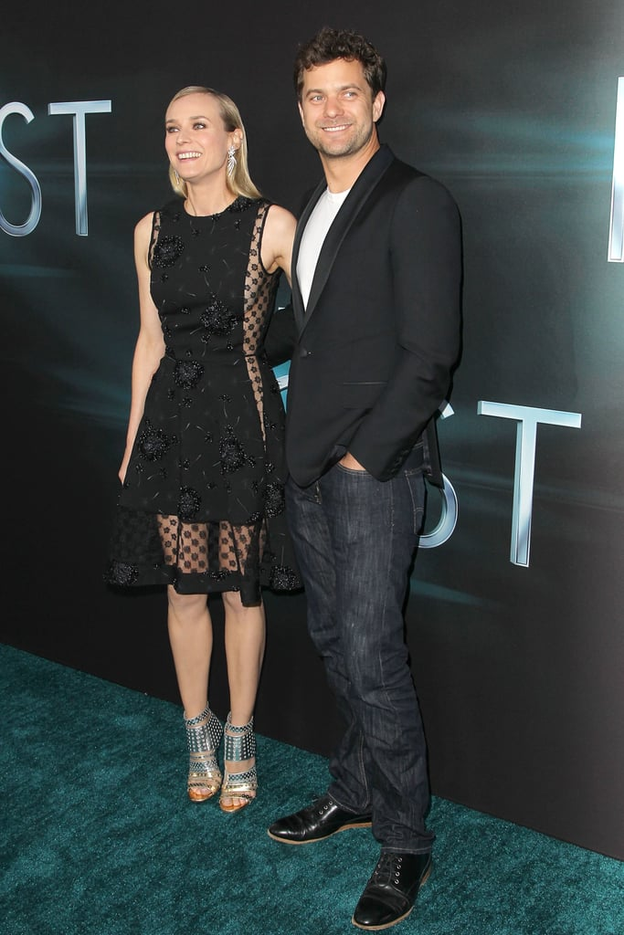 Diane Kruger and Joshua Jackson smiled on the green carpet.