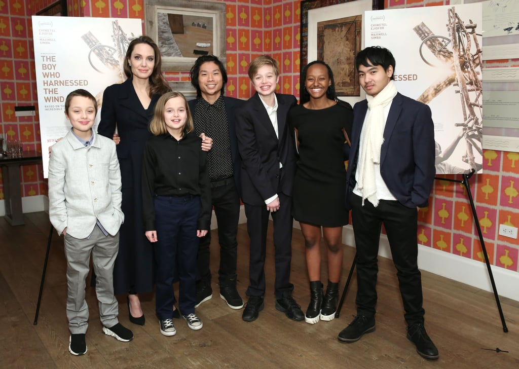 Angelina Jolie made a rare appearance with all six of her kids as they attended a movie night in the city. On Monday night, the actress hosted a special screening of the Netflix film The Boy Who Harnessed the Wind in NYC, and she brought along her entire clan for the fun. Angelina and her kids — Maddox, 17, Zahara, 14, Pax, 15, Shiloh, 12, Vivienne, 10, and Knox, 10 — were all smiles as they posed for a few photos together. Angelina also joined the film's director, Chiwetel Ejiofor, and William Kamkwamba, whose memoir the film is based on, for a Q&A during the event.  Angelina and her kids have been enjoying quite a few public appearances together lately. On Feb. 22, the actress was joined by a few of her kids as she attended the opening of the Museum of Modern Art's Doc Fortnight and the premiere of artist Prune Nourry's Serendipity documentary. We still can't believe how fast her little ones are growing up! See more of their latest appearance ahead.      Related:                                                                                                           Watch Angelina and Brad's Kids Grow Up Before Your Eyes in These 25 Pictures