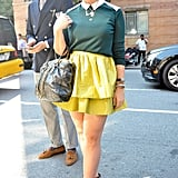 A citron skirt added a touch of whimsy to a Fall knit and studded ankle boots.
