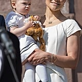 Princess Estelle wore a bow in her hair on Sweden's National Day.