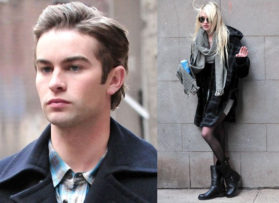 Photos of Chace Crawford and Taylor Momsen Filming Gossip Girl Season Three in New York City