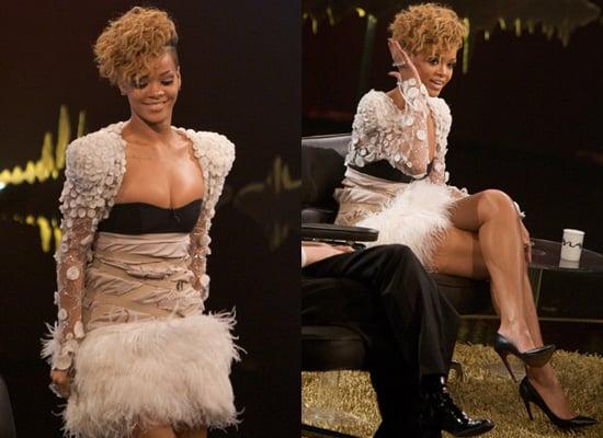 Rihanna on Norwegian TV in Elie Saab and Paule Ka