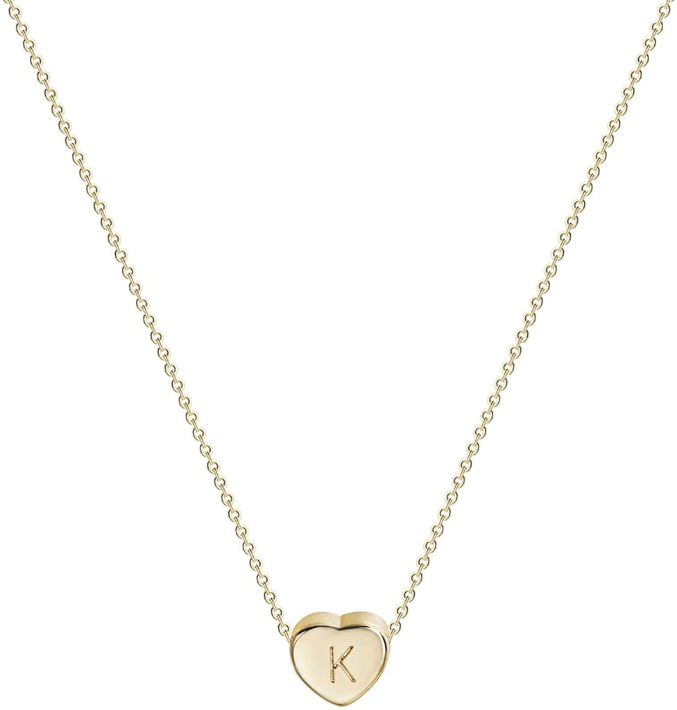 Tiny Gold Initial Heart Necklace