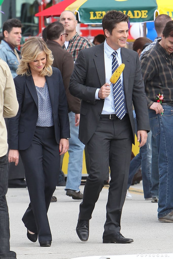 Amy Poehler and Rob Lowe shot a scene in LA.