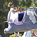 Jennifer Lopez joined her daughter, Emme, for the Dumbo ride at Disneyland.